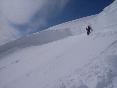 面発生乾雪表層雪崩の破断面